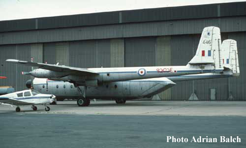 XP446 as 9Q-COE carrying 70 Sqn fin markings, East Midlands Airport, 18 September 1977